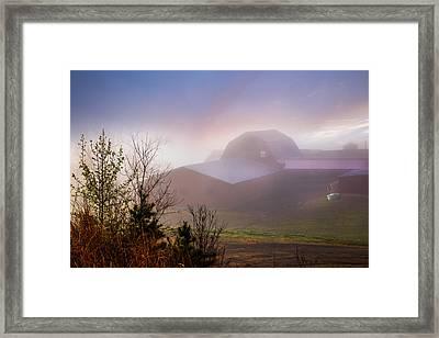 Barns In The Morning Light Framed Print by Debra and Dave Vanderlaan