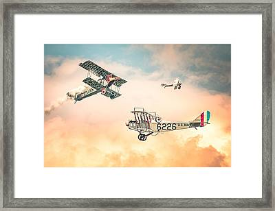 Barnstormers In The Golden Age Of Flight - Fokker D7 - Spad 7 - Curtiss Jenny Jn-4h Framed Print by Gary Heller