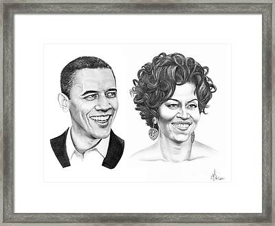 Barrack And Michelle Obama Framed Print by Murphy Elliott