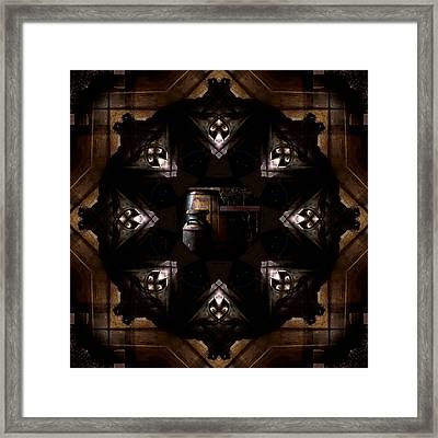 Barrels In The Barn Kaleidoscope Framed Print by Jim Finch