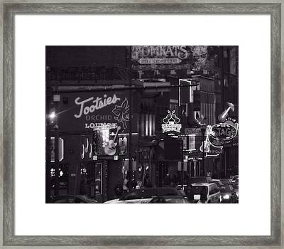 Bars On Broadway Nashville Framed Print by Dan Sproul