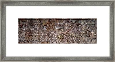 Bas Relief Angkor Wat Cambodia Framed Print by Panoramic Images