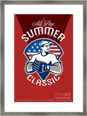 Baseball All Star Summer Classic Poster Framed Print by Aloysius Patrimonio