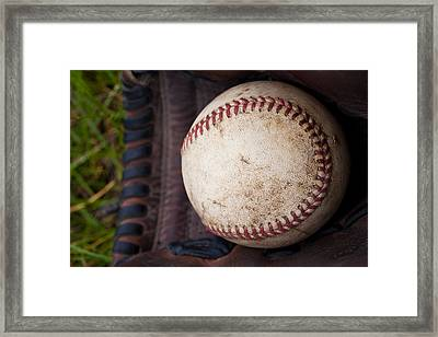 Baseball And Glove Framed Print by David Patterson