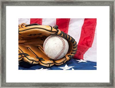 Baseball And Glove On American Flag Framed Print by Joe Belanger