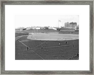 Baseball At Yankee Stadium Framed Print by Underwood Archives