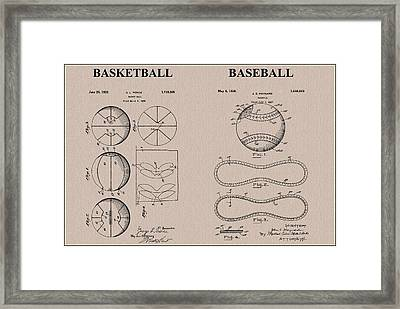 Baseball Basketball Patent Neutral Framed Print by Dan Sproul