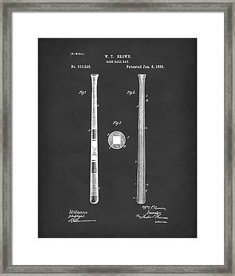 Baseball Bat 1885 Patent Art Black Framed Print by Prior Art Design