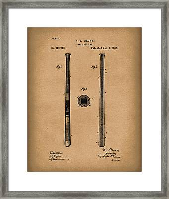 Baseball Bat 1885 Patent Art Brown Framed Print by Prior Art Design