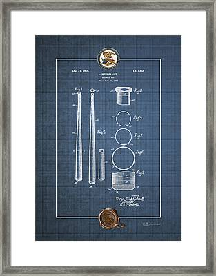 Baseball Bat By Lloyd Middlekauff - Vintage Patent Blueprint Framed Print by Serge Averbukh
