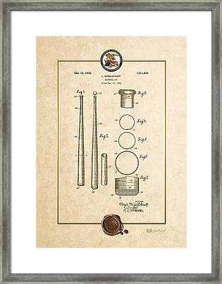Baseball Bat By Lloyd Middlekauff - Vintage Patent Document Framed Print by Serge Averbukh
