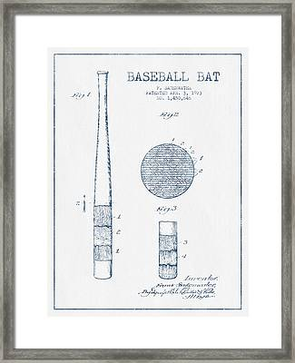 Baseball Bat Patent Drawing From 1923 - Blue Ink Framed Print by Aged Pixel