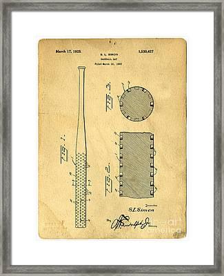 Baseball Bat Patent Framed Print by Edward Fielding