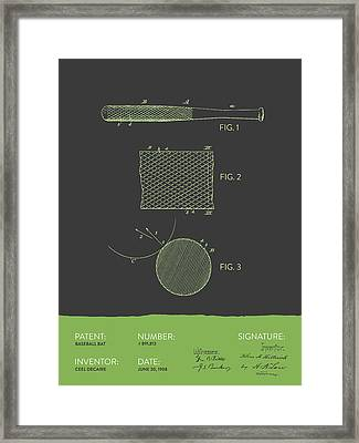 Baseball Bat Patent From 1908 - Gray Green Framed Print by Aged Pixel