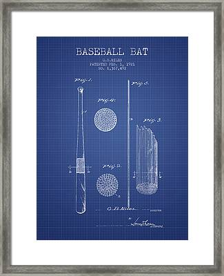Baseball Bat Patent From 1921 - Blueprint Framed Print by Aged Pixel