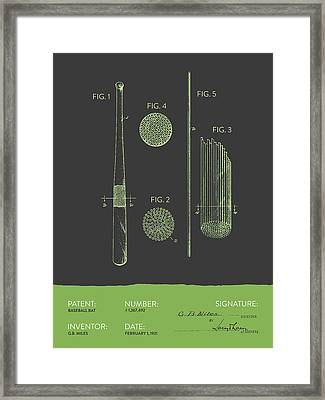 Baseball Bat Patent From 1921 - Gray Green Framed Print by Aged Pixel