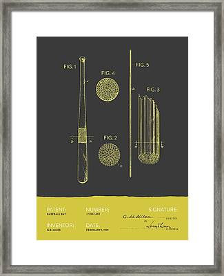 Baseball Bat Patent From 1921 - Gray Yellow Framed Print by Aged Pixel