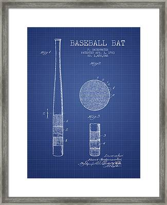 Baseball Bat Patent From 1923 - Blueprint Framed Print by Aged Pixel