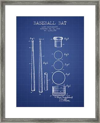 Baseball Bat Patent From 1926 - Blueprint Framed Print by Aged Pixel