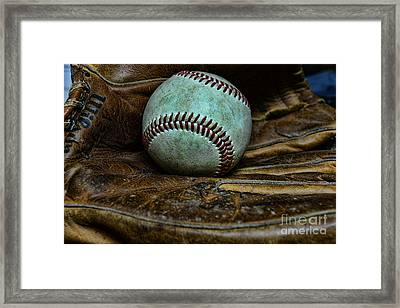 Baseball Broken In Framed Print by Paul Ward