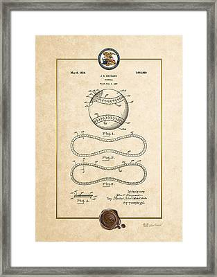 Baseball By John E. Maynard - Vintage Patent Document Framed Print by Serge Averbukh