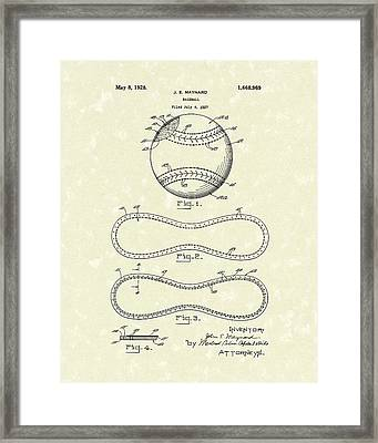 Baseball By Maynard 1928 Patent Art Framed Print by Prior Art Design