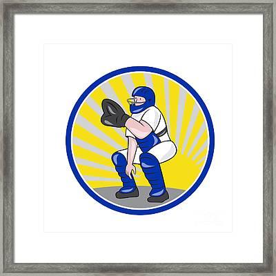 Baseball Catcher Catching Side Circle Framed Print by Aloysius Patrimonio