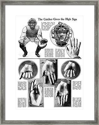 Baseball Catcher Signals Framed Print by Granger