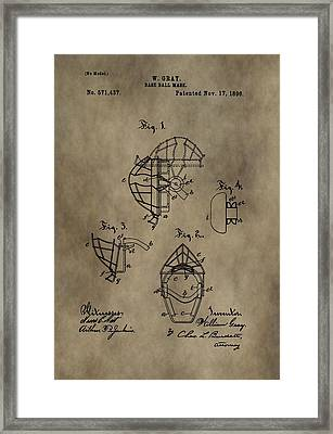 Baseball Catcher's Mask Patent Framed Print by Dan Sproul