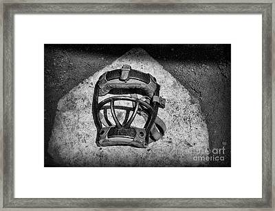 Baseball Catchers Mask Vintage In Black And White Framed Print by Paul Ward