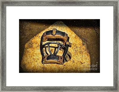 Baseball Catchers Mask Vintage  Framed Print by Paul Ward