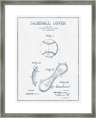 Baseball Cover Patent Drawing From 1924 - Blue Ink Framed Print by Aged Pixel
