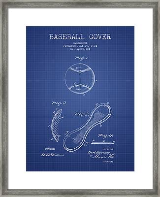 Baseball Cover Patent From 1924 - Blueprint Framed Print by Aged Pixel