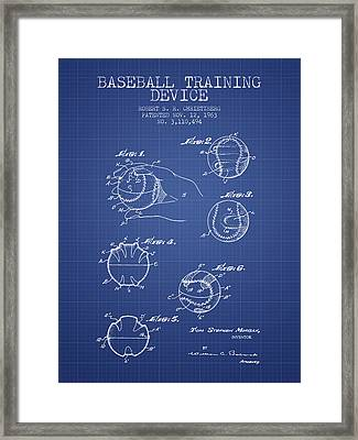Baseball Cover Patent From 1963- Blueprint Framed Print by Aged Pixel