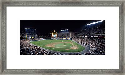 Baseball Game Camden Yards Baltimore Md Framed Print by Panoramic Images