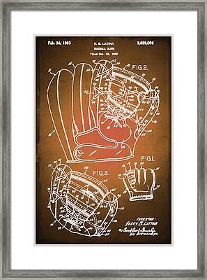 Baseball Glove Patent Blueprint Drawing Sepia Framed Print by Tony Rubino