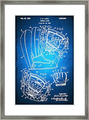 Baseball Glove Patent Blueprint Drawing Framed Print by Tony Rubino