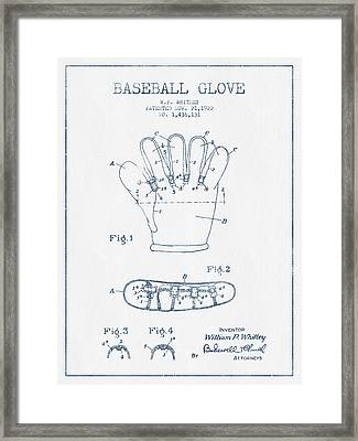 Baseball Glove Patent Drawing From 1922 - Blue Ink Framed Print by Aged Pixel