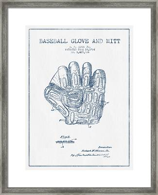 Baseball Glove Patent Drawing From 1924 - Blue Ink Framed Print by Aged Pixel