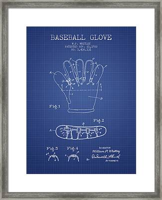 Baseball Glove Patent From 1922 - Blueprint Framed Print by Aged Pixel