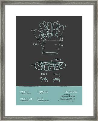 Baseball Glove Patent From 1922 - Gray Blue Framed Print by Aged Pixel