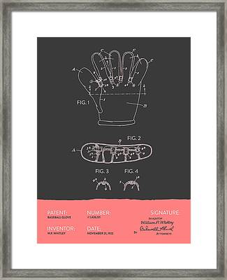Baseball Glove Patent From 1922 - Gray Salmon Framed Print by Aged Pixel