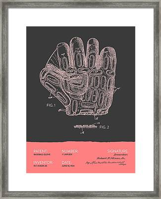 Baseball Glove Patent From 1924 - Gray Salmon Framed Print by Aged Pixel