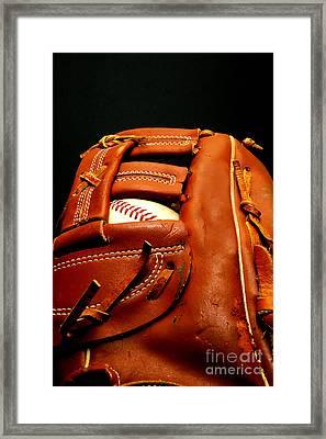 Baseball Glove With Ball Framed Print by Danny Hooks