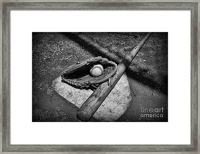 Baseball Home Plate In Black And White Framed Print by Paul Ward