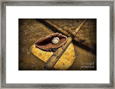 Baseball Home Plate Framed Print by Paul Ward
