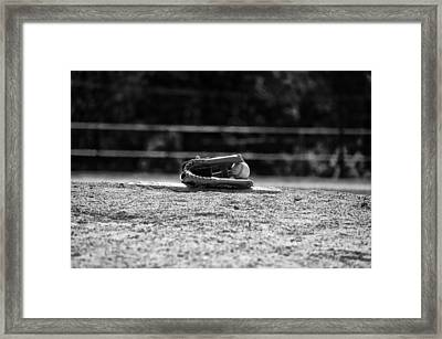 Baseball In Black And White Framed Print by Bill Cannon
