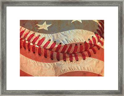 Baseball Is Sewn Into The Fabric Framed Print by Heidi Smith