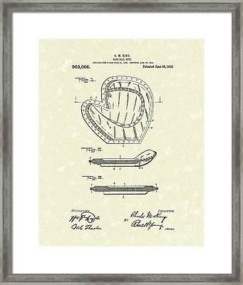 Baseball Mitt 1910 Patent Art Framed Print by Prior Art Design