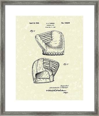 Baseball Mitt 1945 Patent Art Framed Print by Prior Art Design